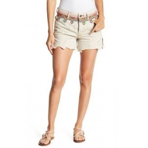 Free people Borderline Cotton Frayed Hem Shorts